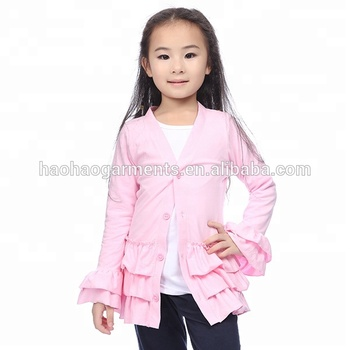 Ruffled Elegant Children Boutique Clothing Baby Girls Fall Coats cotton coats for girls