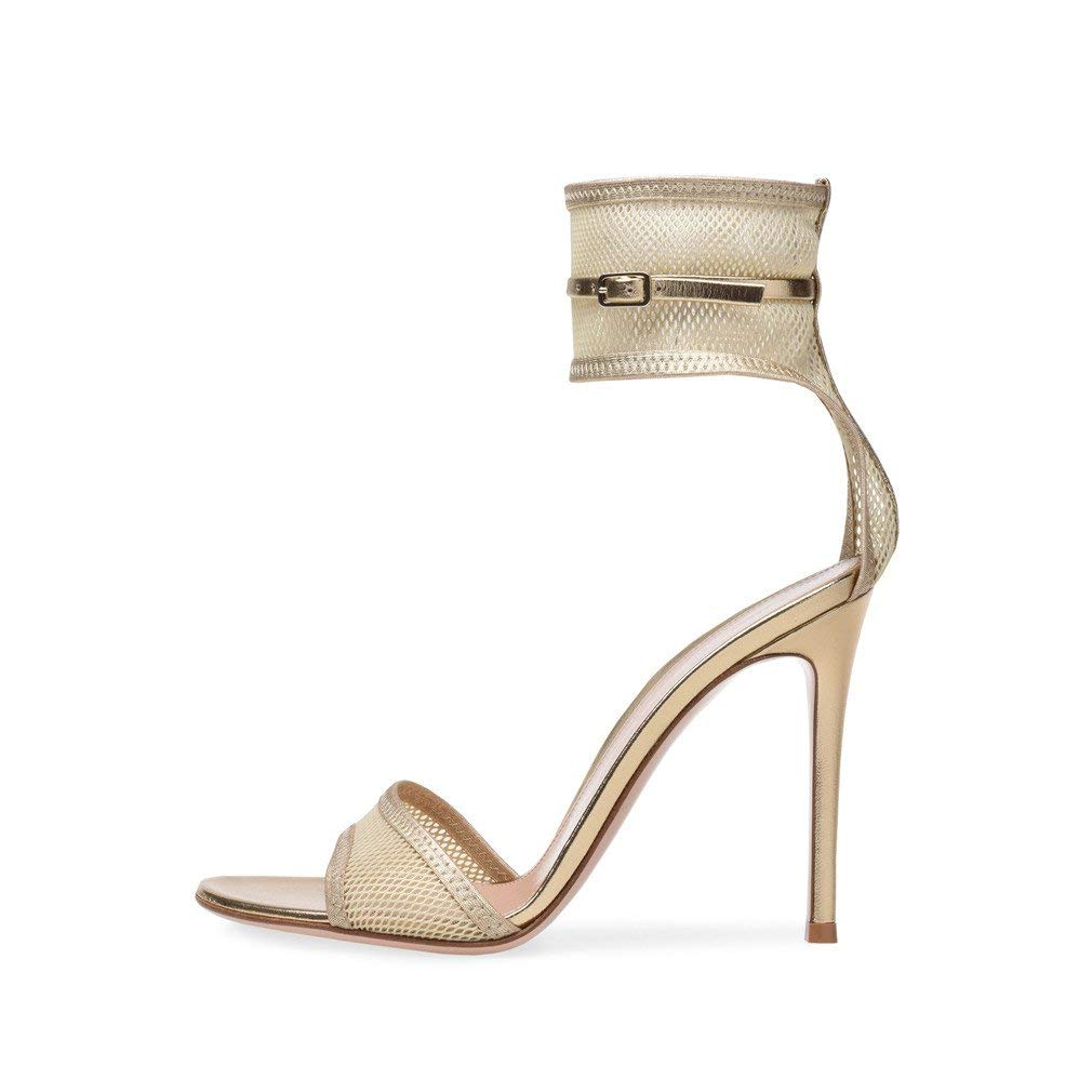 LUCKY CLOVER-CC Sandals Women Ladies Block High Heel Ankle Strap Peep Toe Strappy Sandals Shoes Pumps Party Lace Buckle Court Shoes,Beige,EU35