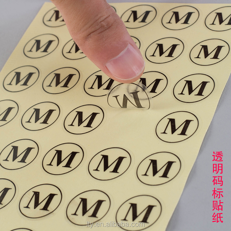 Custom clear vinyl clothing size labels ,printing adhesive garment size labels