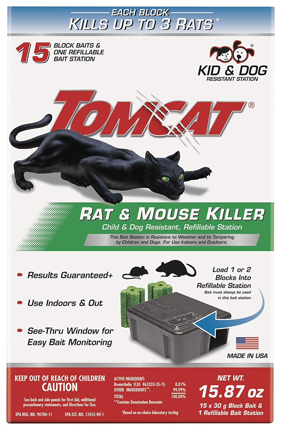Tomcat Rat & Mouse Killer Refillable Station for Indoor/Outdoor Use - Child & Dog Resistant (1 Case of 4 Station, with 15 Baits Each)