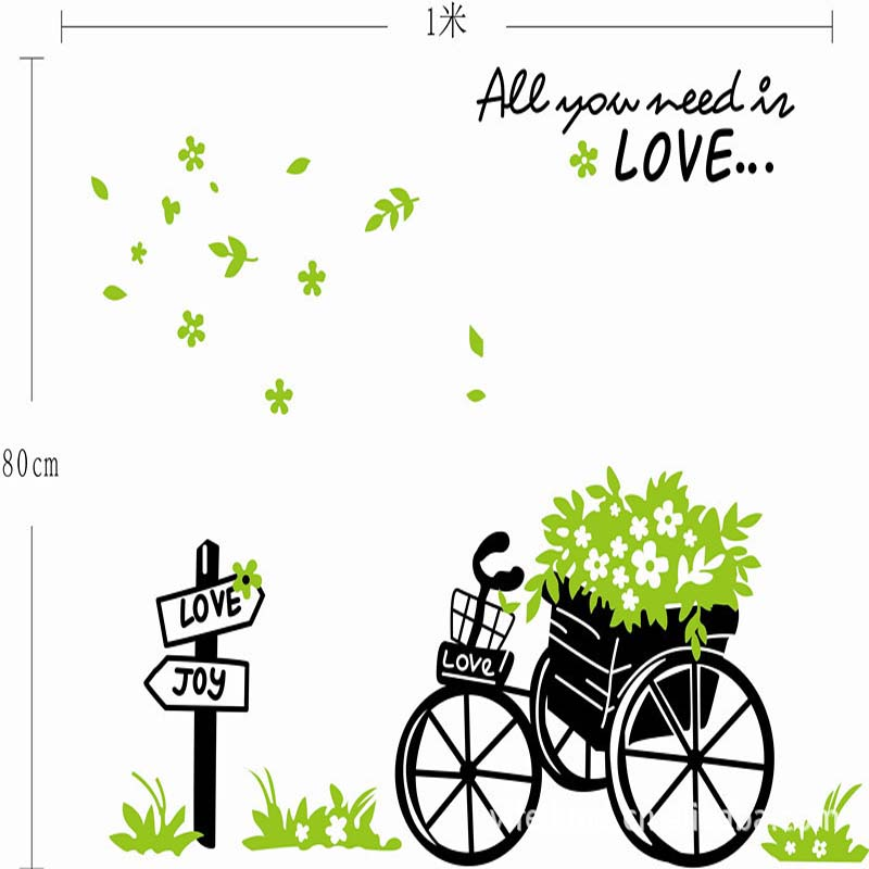 New arrive Romantic Spring Natural Green Flower Bicycle Sticker Home Decor Living Room Cartoon Decal  TV Background Wallpaper
