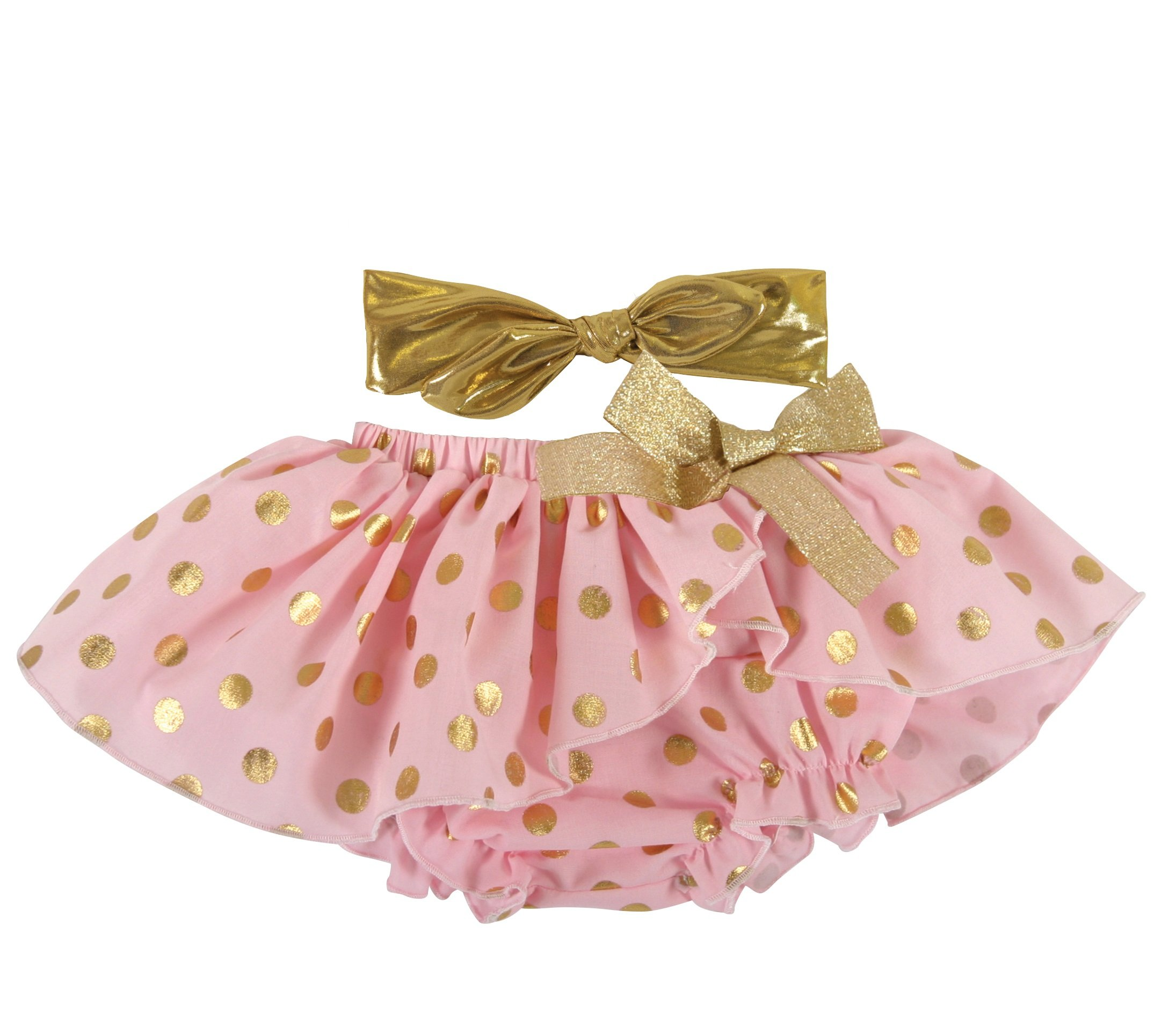 Digirlsor Baby Girls Dress 2 PCS Skirt Cute Underpants Outfit Set,Green,Pink,Yellow 3-45M