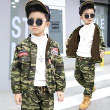3877cdf5ad96 Camouflage stampato button giacca con pantaloni di addestramento militare  tessuto di cotone per bambini che coprono