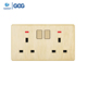 GOG 2x13A double plug socket wall safe,rcd switched socket