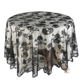 Halloween Decorations 2018 Spooky Lace Table Cloth Hand Made Skulls And  Cross Bones Lace Round Tablecloth