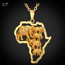 ab41937133d6 U7 oro de África mapa collar con joyería de la cadena mujeres oro elefante collares  colgantes