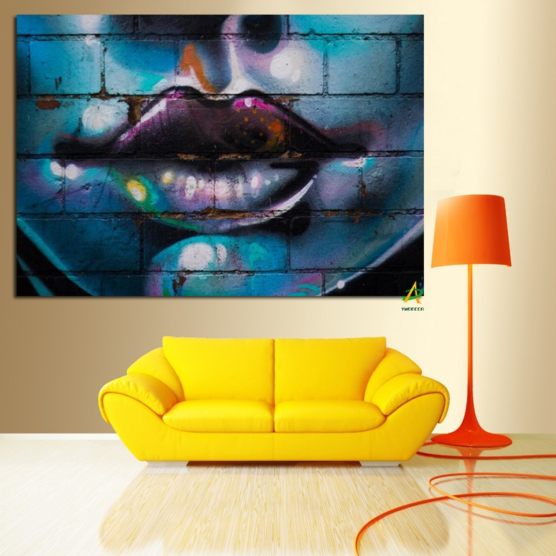Woman Lips Graffiti Modern Abstract Wall Art Decor Canvas Print ...