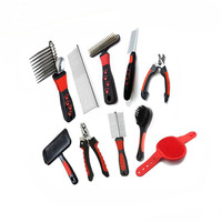 9 Pet Grooming Case Kit included Double Brush| Bath Massage Glove| Nail Clippers&Fille|Double Comb for hair removal