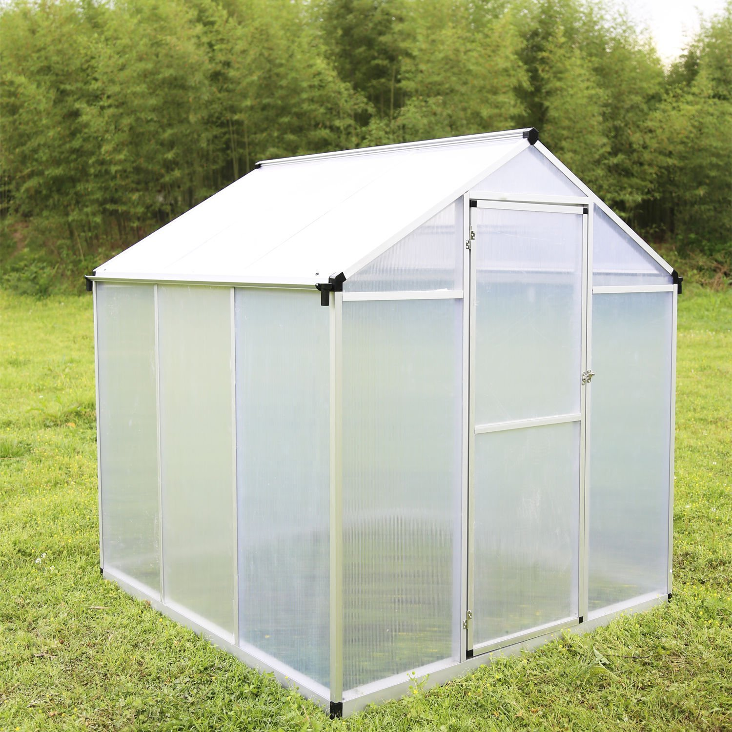 New 6'x6' Aluminum Garden Greenhouse Polycarbonate Roof Vent Walk-in Large Nursery