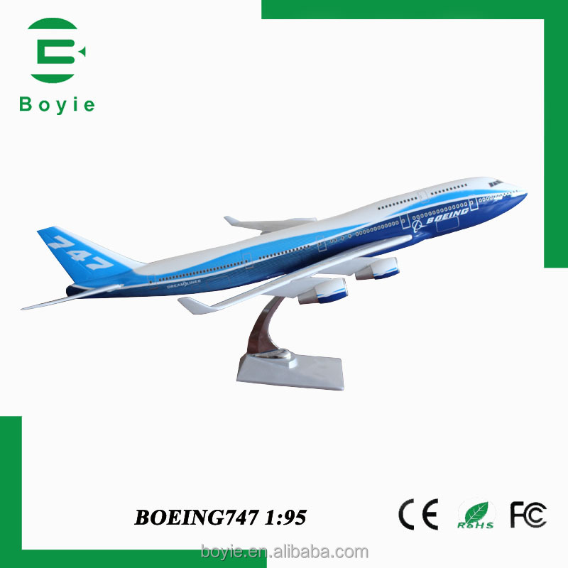 Blue and white 747 boeing 75CM large diecasting resin miniature planes with plastic base