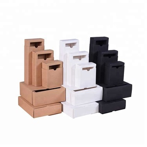 Wholesale drawer type folding brown kraft paper jewelry package storage box