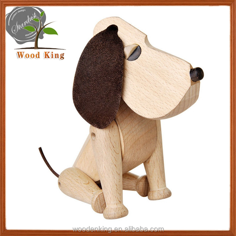 Beech Pure Manual Animal Place Adorn Classic Real Wood Dog Puppet House Antique Miniature Wood Crafts Dog Puppet