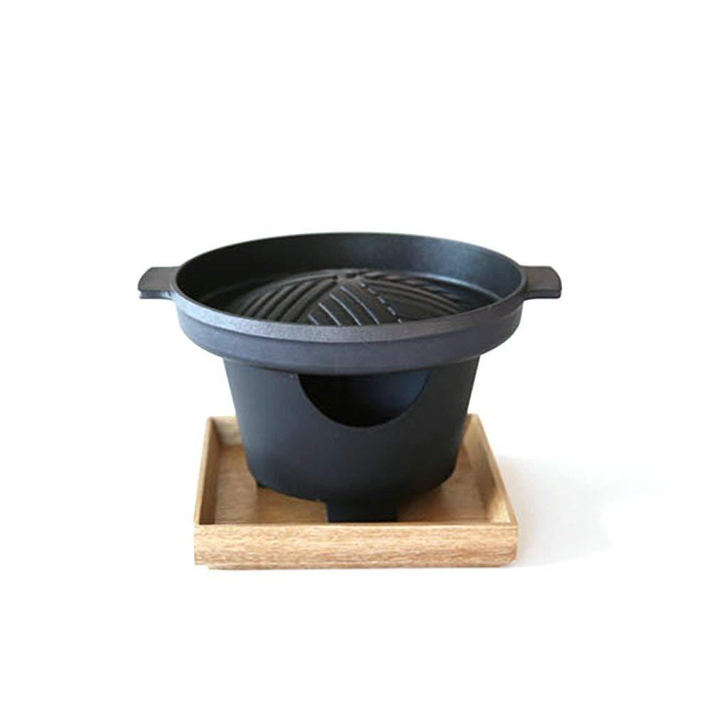 Mini Hibachi Grill Pan Set (3 Set(Grill Pan + Hibachi + Wood Tray))
