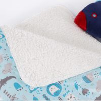 Wholesale custom kids 2-ply minky and white sherpa fleece baby blanket with animal pattern