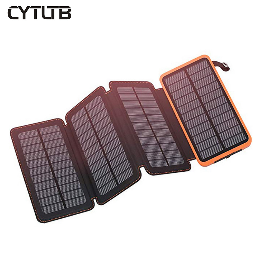 Customized logo outdoor folding solar power charger waterproof solar power bank portable