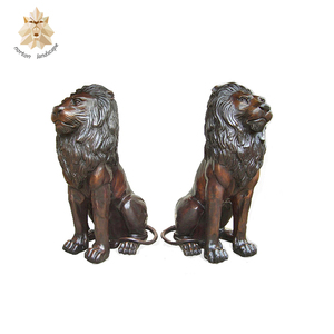 Life size outdoor double lion cast brass lion statue NTBM-454A