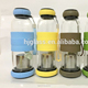 cylindrical hot fill resistant recycled 550ml removable bottom glass water bottle for kids