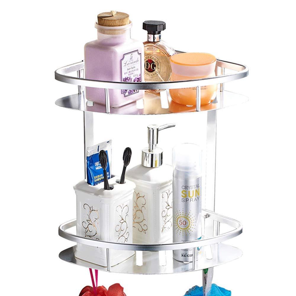 Adhesive Bathroom Shelf, Bathroom Corner Shelves,Shower Shelves (No Drilling) Durable Aluminum 2 tiers shower shelf Kitchen storage basket Adhesive Suction Corner Shelves Shower Caddy