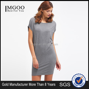 MGOO Plus Size Women Jersey Midi Dress With Cap Sleeve Casual Loose T-Shirt Dress Can Be Custom Made Logo Print Grey Dress