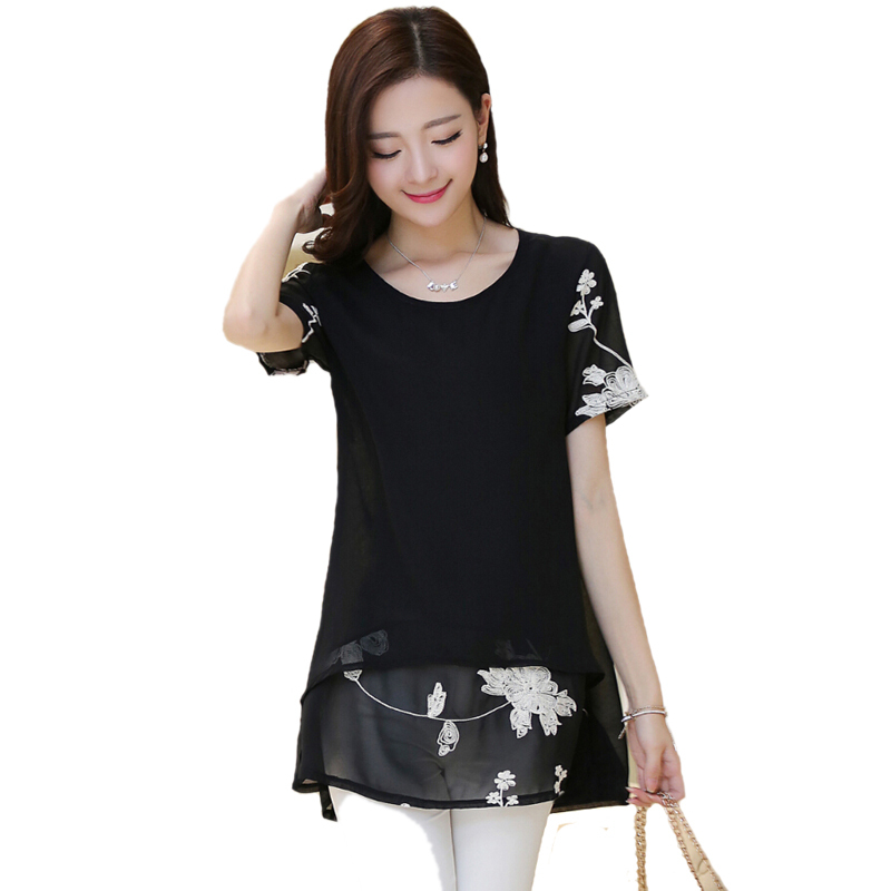 Summer Style Women Clothes 2015 White Blusas Chiffon Flower Embroidery Short Sleeve Blouse Tunics Plus Size Blusa Feminina
