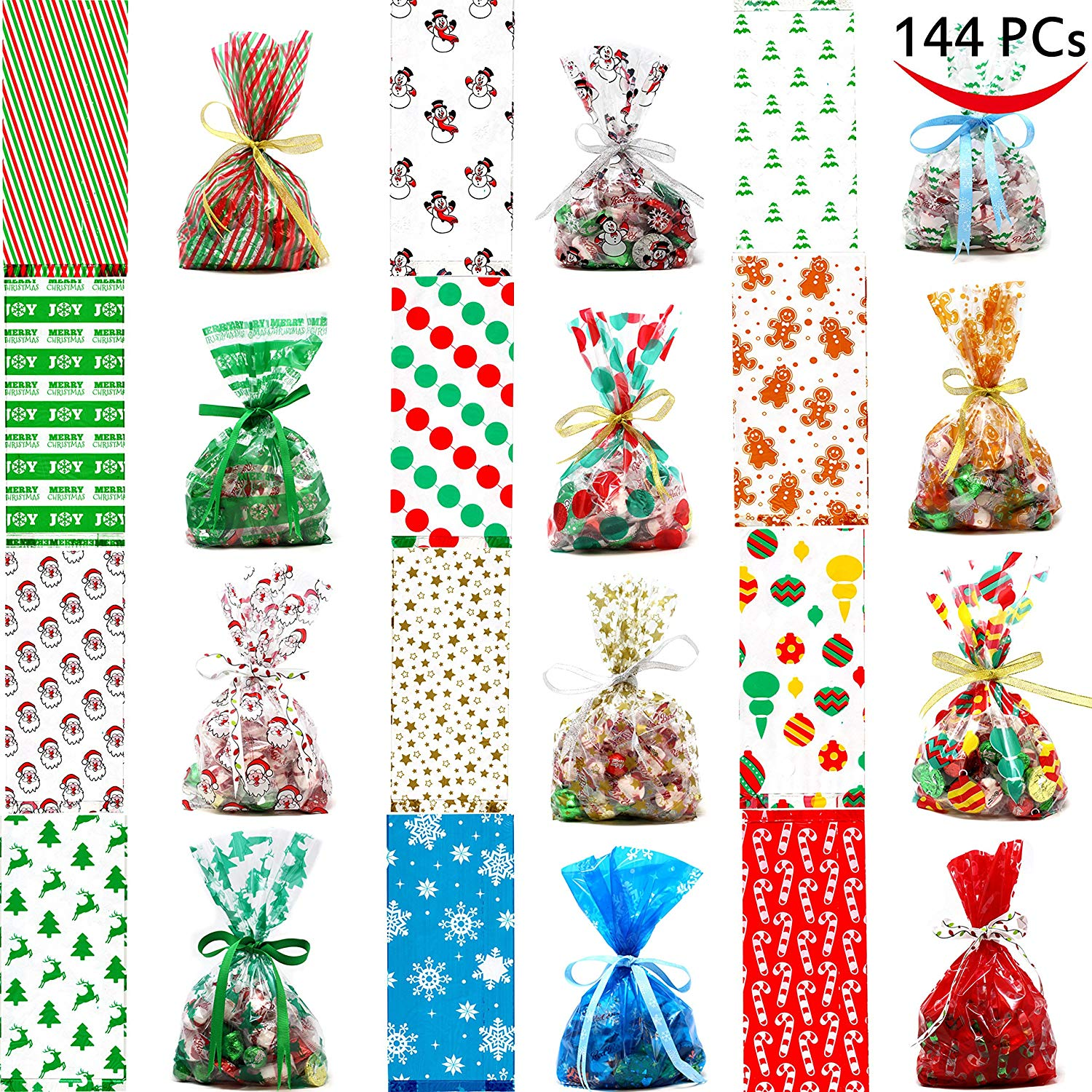 Joiedomi 144 PCs Christmas Cellophane Goody Bags Assortment for Christmas Holiday Treats Bags, Christmas Party Favors, Cello Candy Bags,, Party Supplies, Christmas Goodie Bags