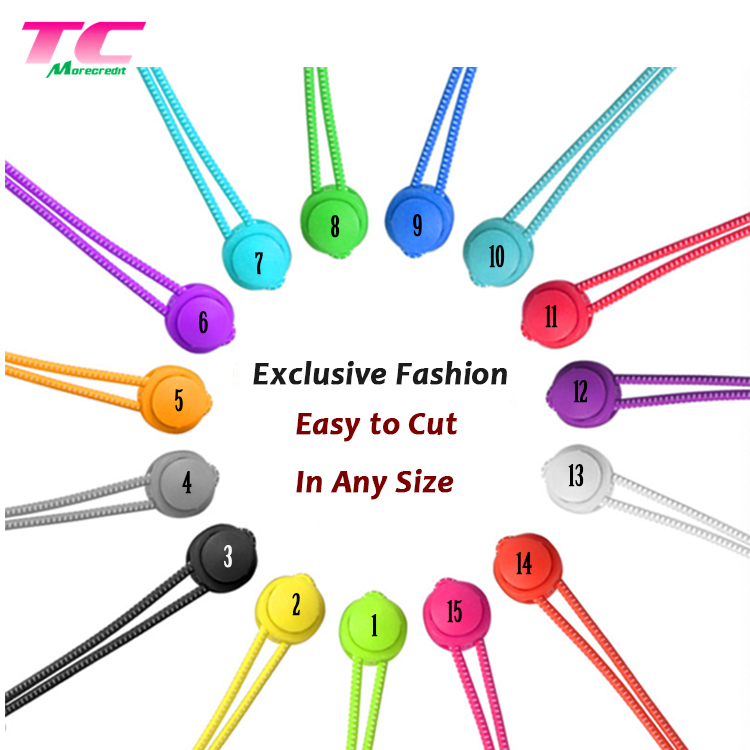 2019 Fashionable Flat Slip Sneaker Elastic Shoelaces Colorful Lazy No Tie Shoe laces