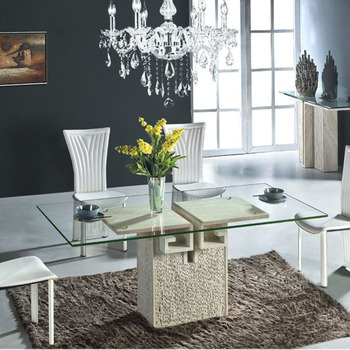 Hot Sale Glass Top Marble Base Living Room Dining Table