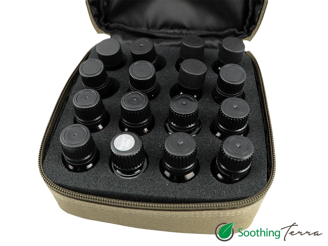Soothing Terra 16 Bottle Essential Oil Carrying Case with Foam Insert - Holds 5ml, 10ml, 15ml and Roll Ons
