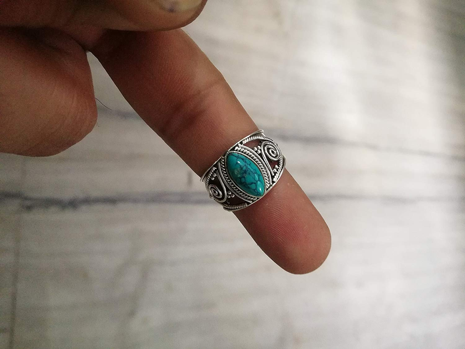 Turquoise Ring, 925 Sterling Silver, December Birthstone, Wide Band Ring, New Design Ring, Vintage Ring, Gorgeous Ring, Middle Eastern Style, Midi Ring, Victorian Ring, Angel Ring, US All Size Ring