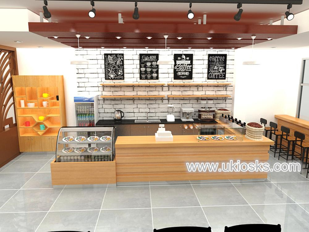 Wooden Style Retail Coffee Shop Interiors Design With