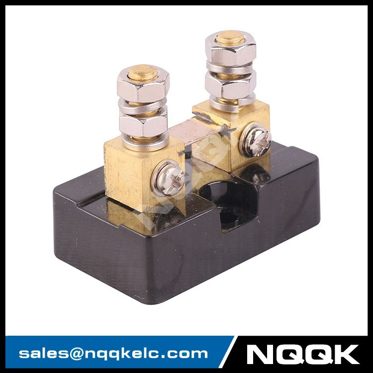 2 FL USA type 50A 50mV DC brass Electric current Shunt Resistors with base.JPG