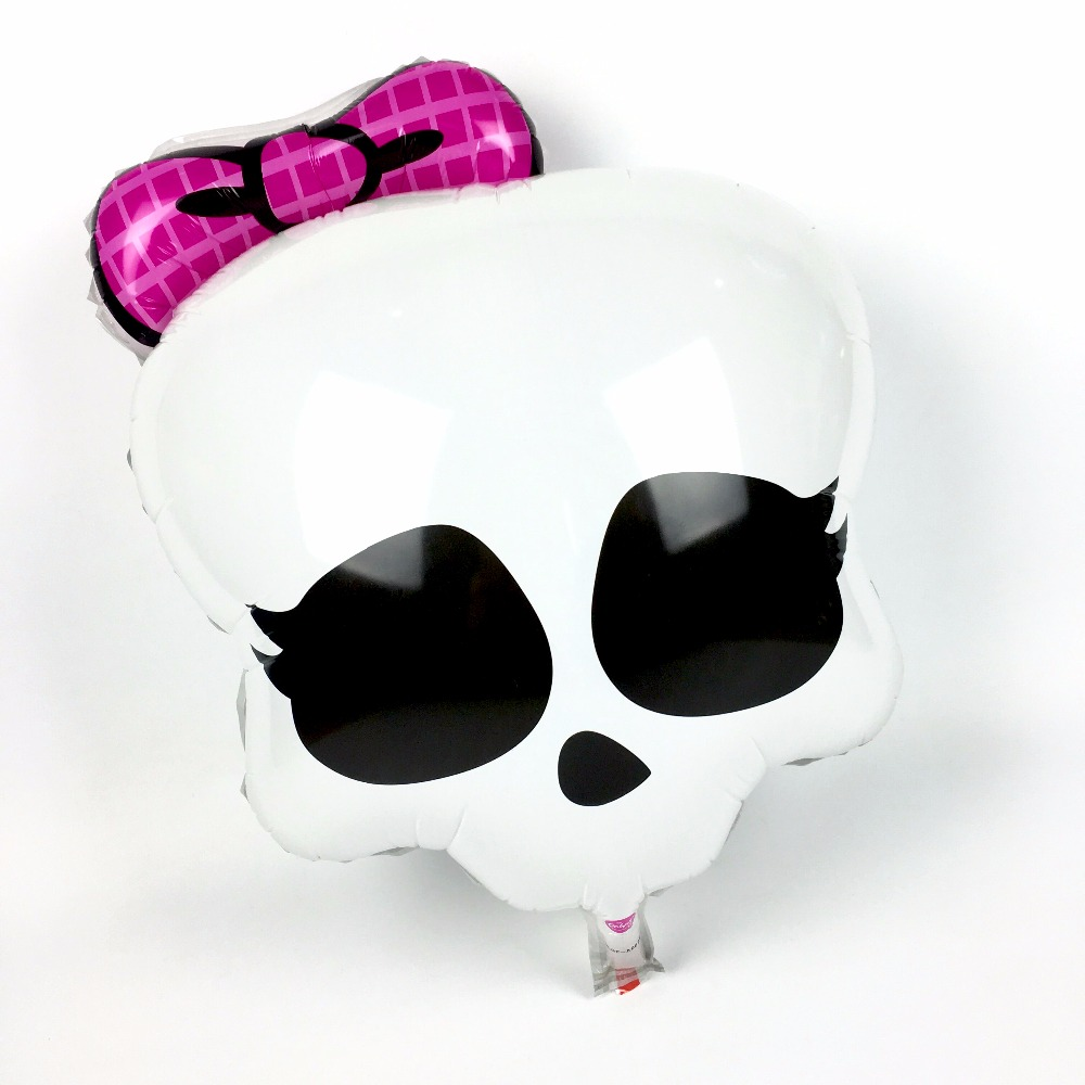 New Arrival Halloween Skeleton Skull Head Party Foil Balloons Inflatable Pink Bowknot Ghost Globos Helloween Party