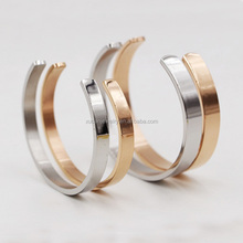 Fashion Hand Stainless Steel Jewelry Rose Gold Plain Cuff Bangle 2016