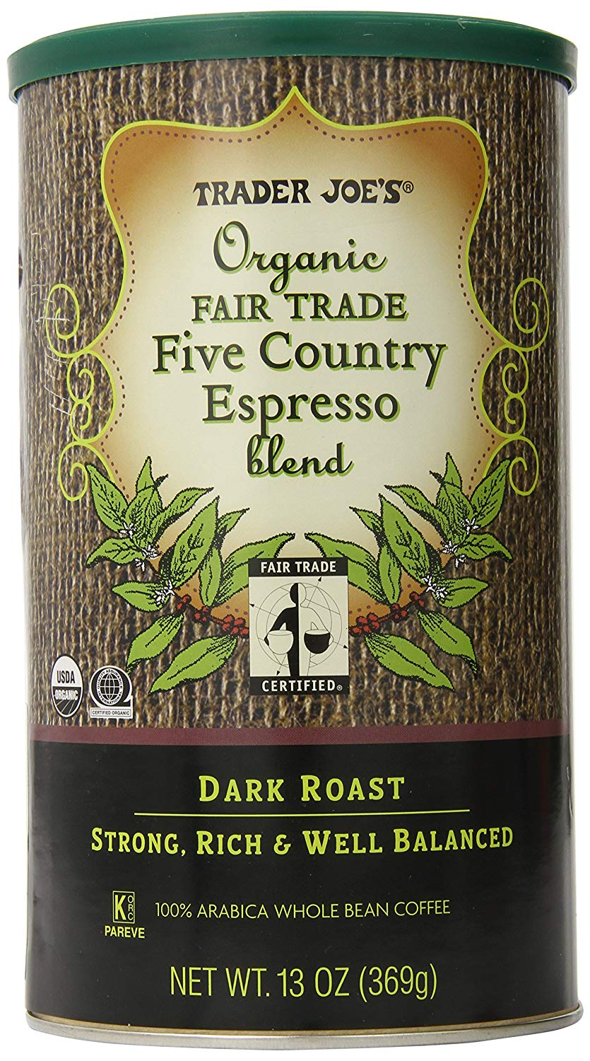 TRADER JOES Organic Fair Trade Five Country Espresso Blend 100% Arabica Roasted Whole Bean Coffee, 13 Ounce