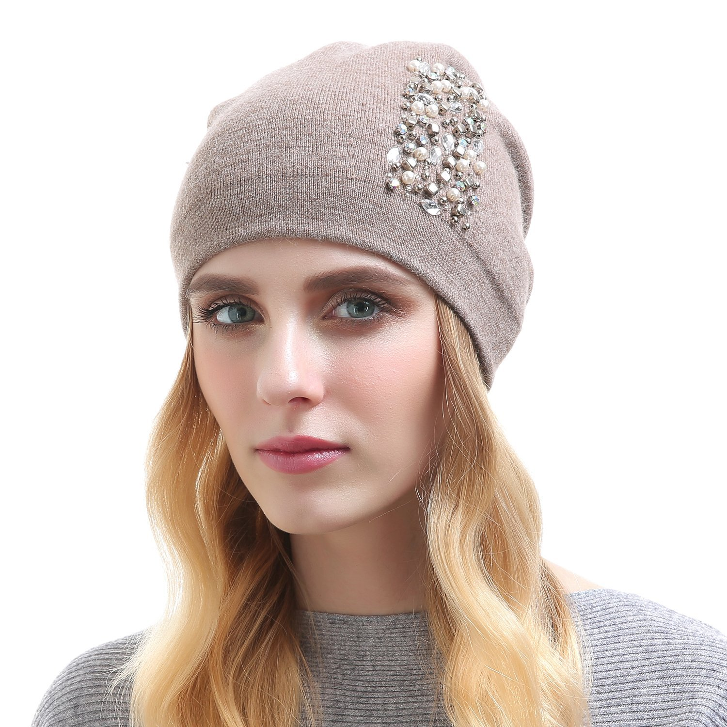 d7dafc9dc9680e Get Quotations · QUEENFUR Womens Wool Hat - Winter Cashmere Caps Oversized  Beanies with Rhinestones Ski Hats