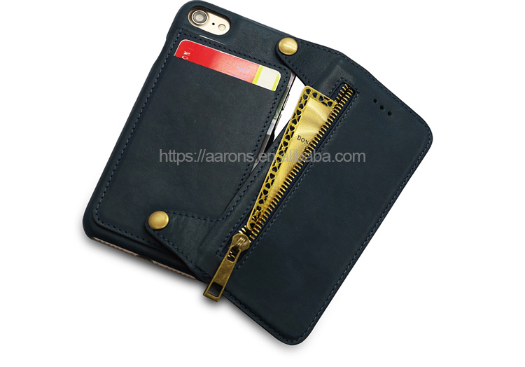 New Design Leather Like Feeling Matte Black Mobile Phone With Zipper Wallet Cellphone Case Cover Bumper For Iphone 7 8
