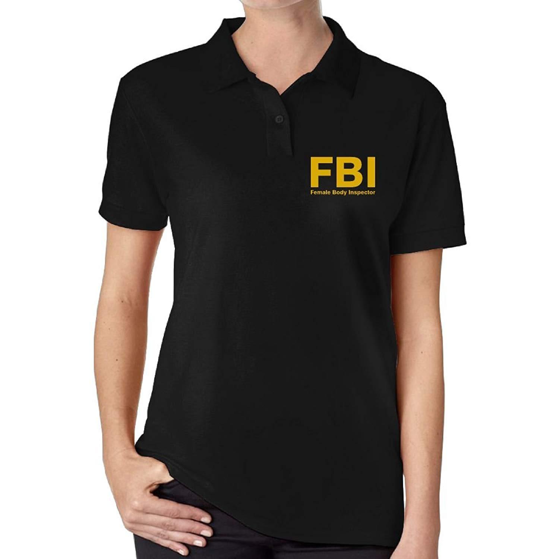 3879462a7b7 Get Quotations · RQT FBI Female Body Inspector Women s Fashion Jersey Polo  Shirt
