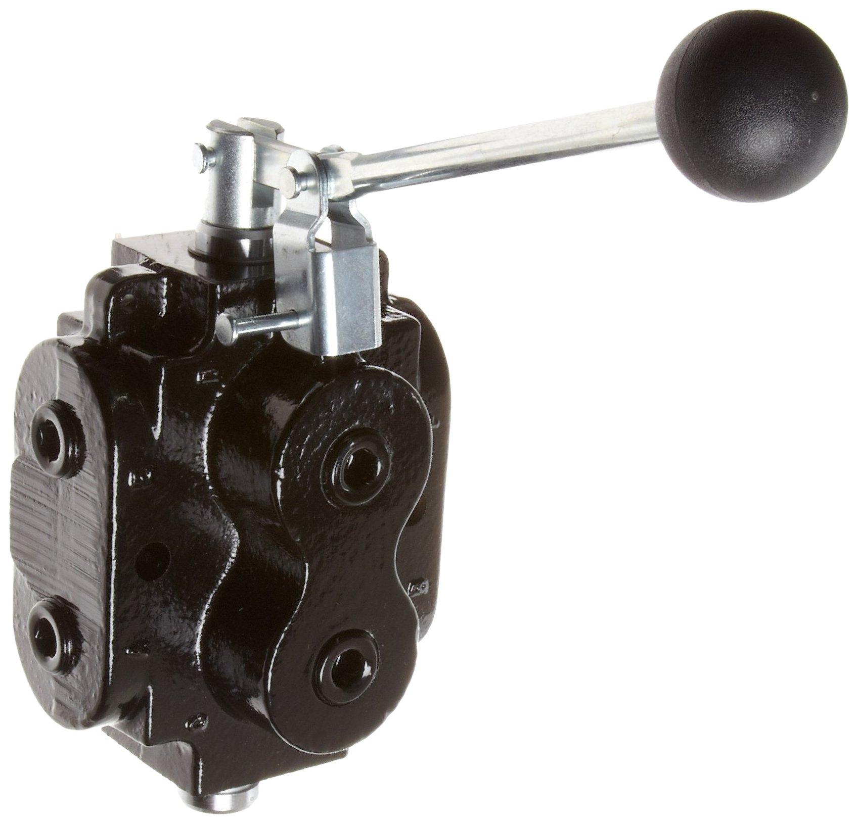 Prince DS-1A1E Directional Control Valve, Monoblock, Cast Iron, 1 Spool, 6 Ways, 2 Positions, Lever Handle, 2500 psi, 40 gpm, 1/2 NPT Female