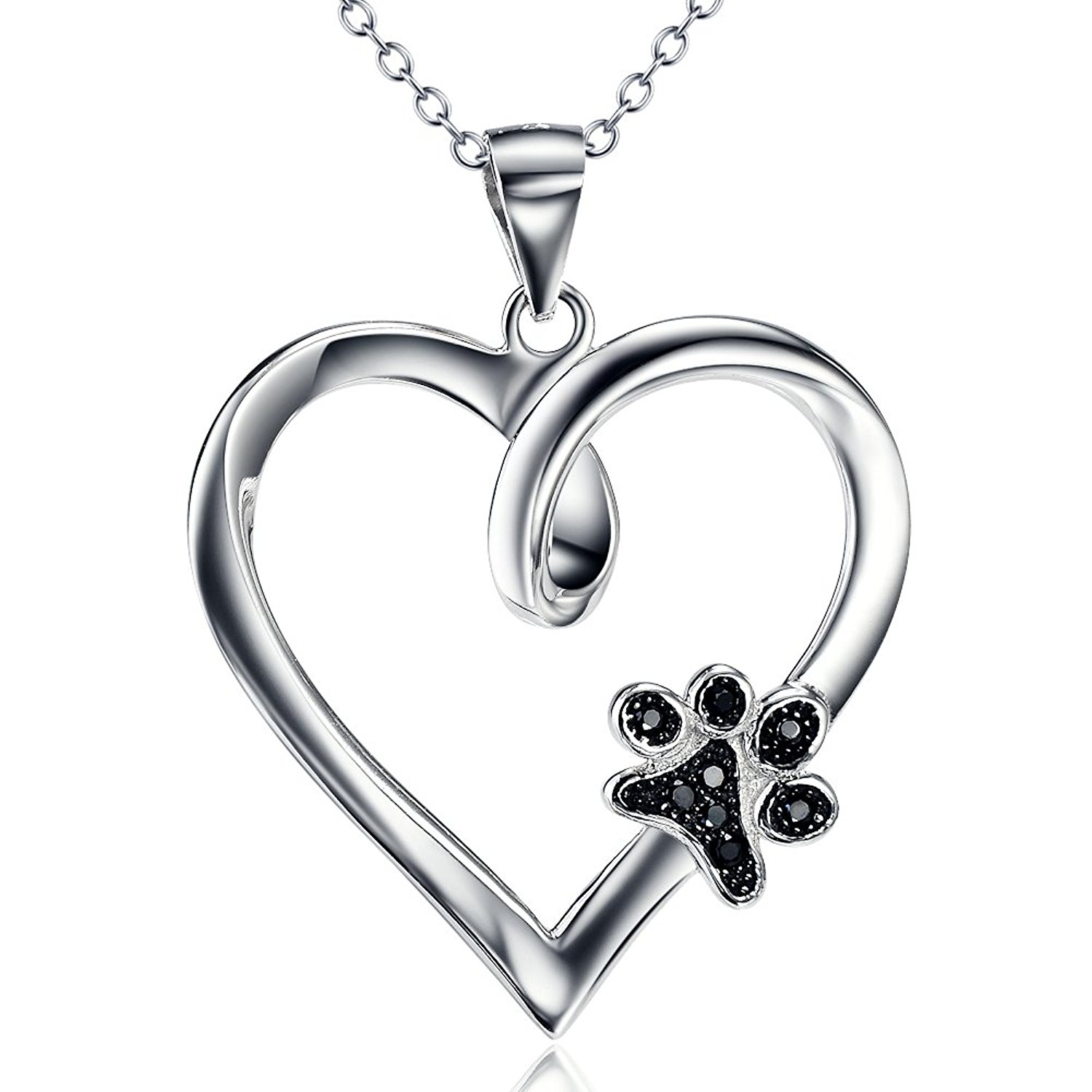 7f3910c15 YFN Sterling Silver Paw Print Love Heart Pendant Necklace Dog Memorial  Gifts for Dog Mom Dog Lover (Heart and Paw Print)