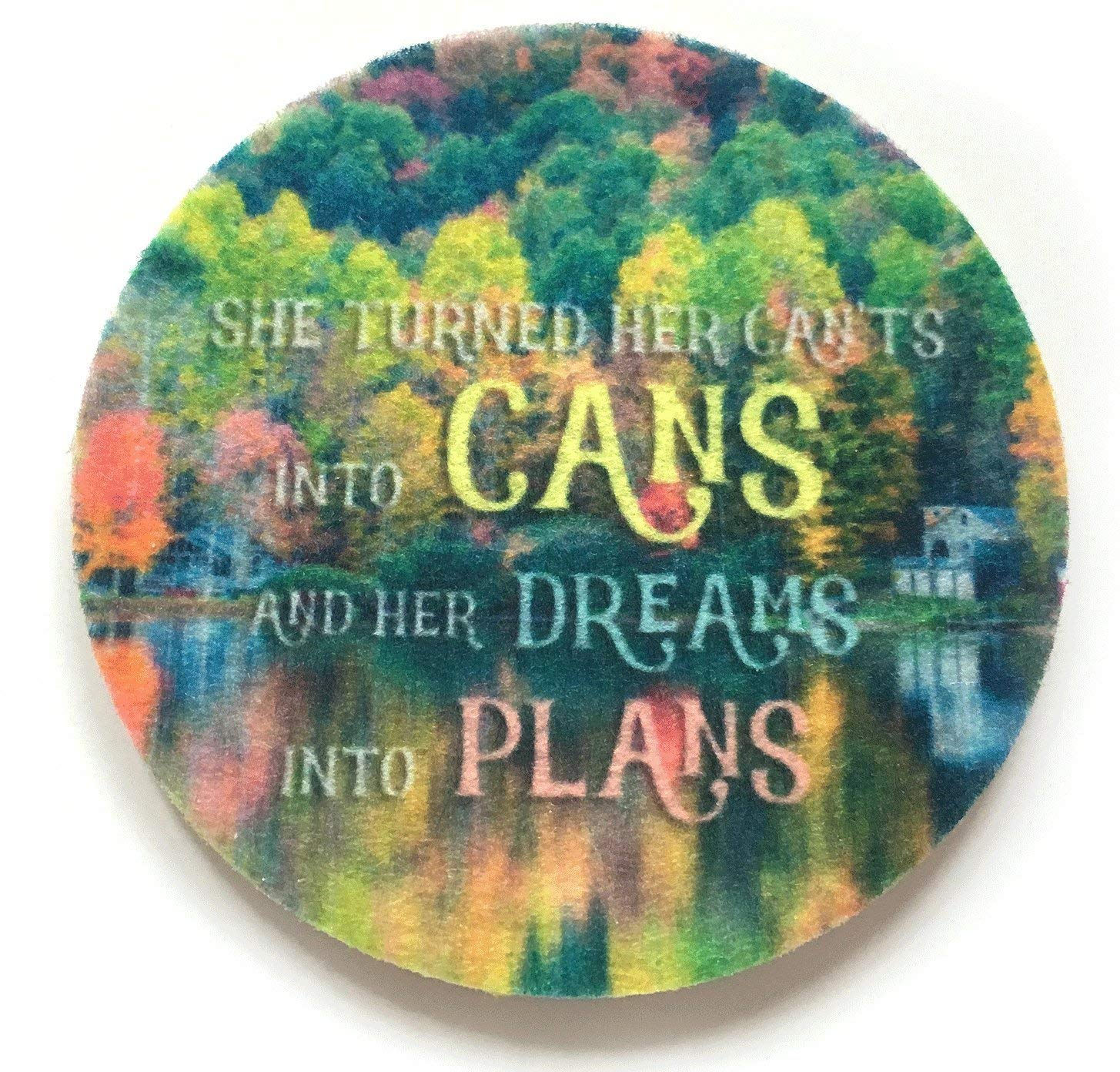 Set of two super absorbent inspirational car coasters for your cars cup holder -Green Product - Contains an Antibacterial Agent-Auto Coaster