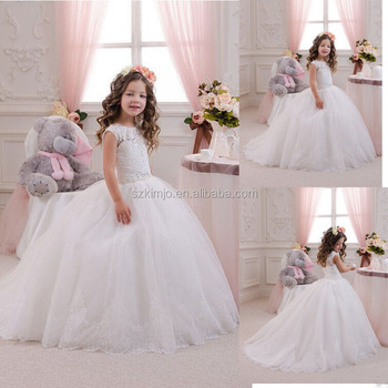 2018 Lace Applique Flower Girl Dresses White Wedding Ball Gown For ...