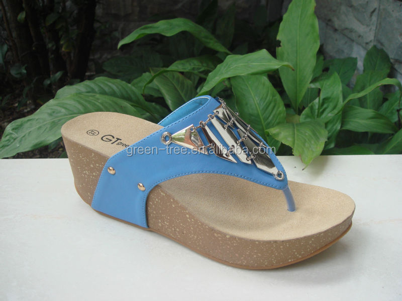 2015 Top Fashion Metal Trim Women Sexy Low Heel Wedge Sandals Shoes Ladies Slippers