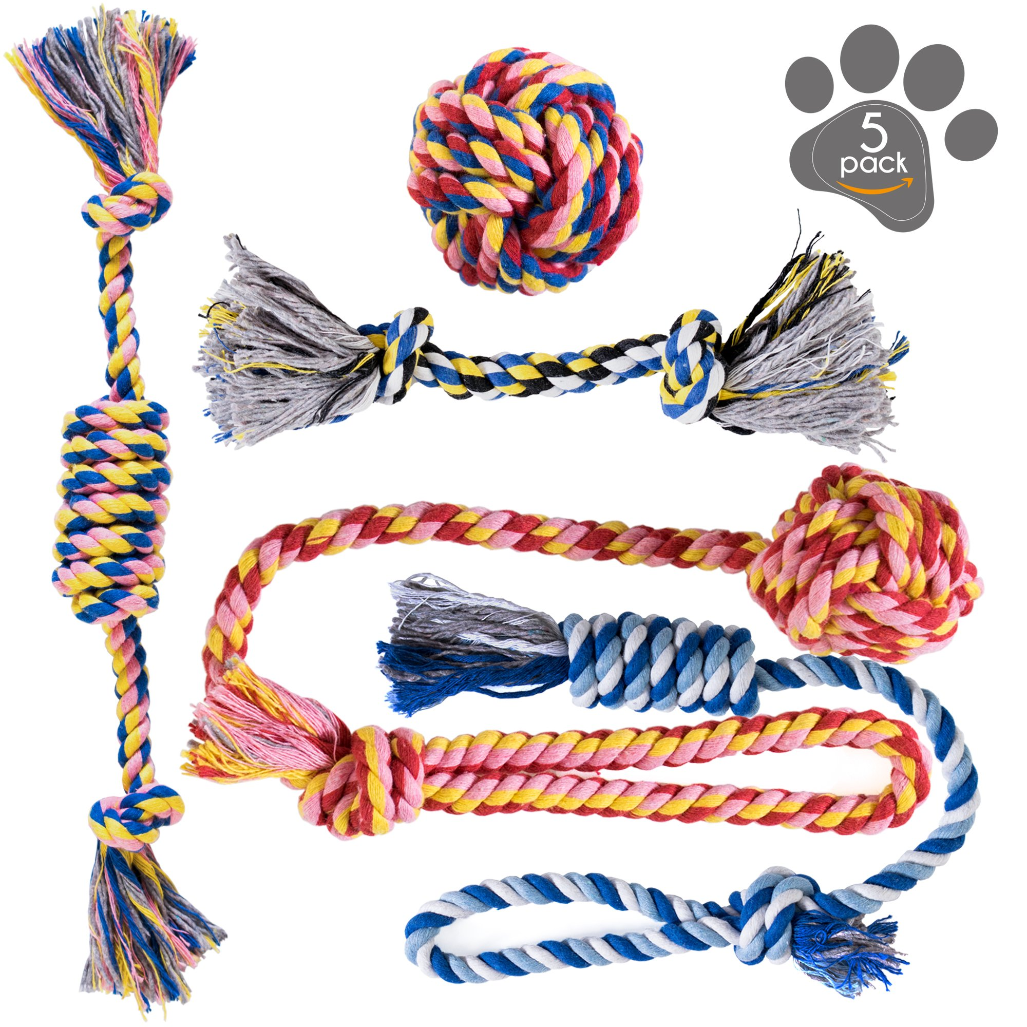 Dog Chew Toys - Puppy Teething Toys - Dog Toy Set - Rope Dog Toy - Puppy Toys - Medium Small Dog Toys - Chew Toys Dogs - Dog Toy Pack - Washable Cotton Rope Dogs - Puppy Chew Toys