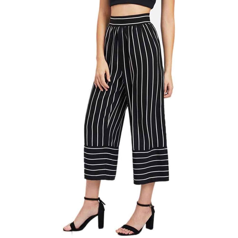 31966e0275a Get Quotations · Wqueen 2018 Wide Leg Pants New Striped Printing Wide Leg  Pants Women Sexy High Waist Stripe