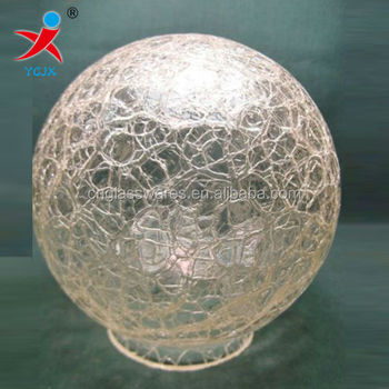 VINTAGE CRACKLE GLASS BALL LIGHT SHADE