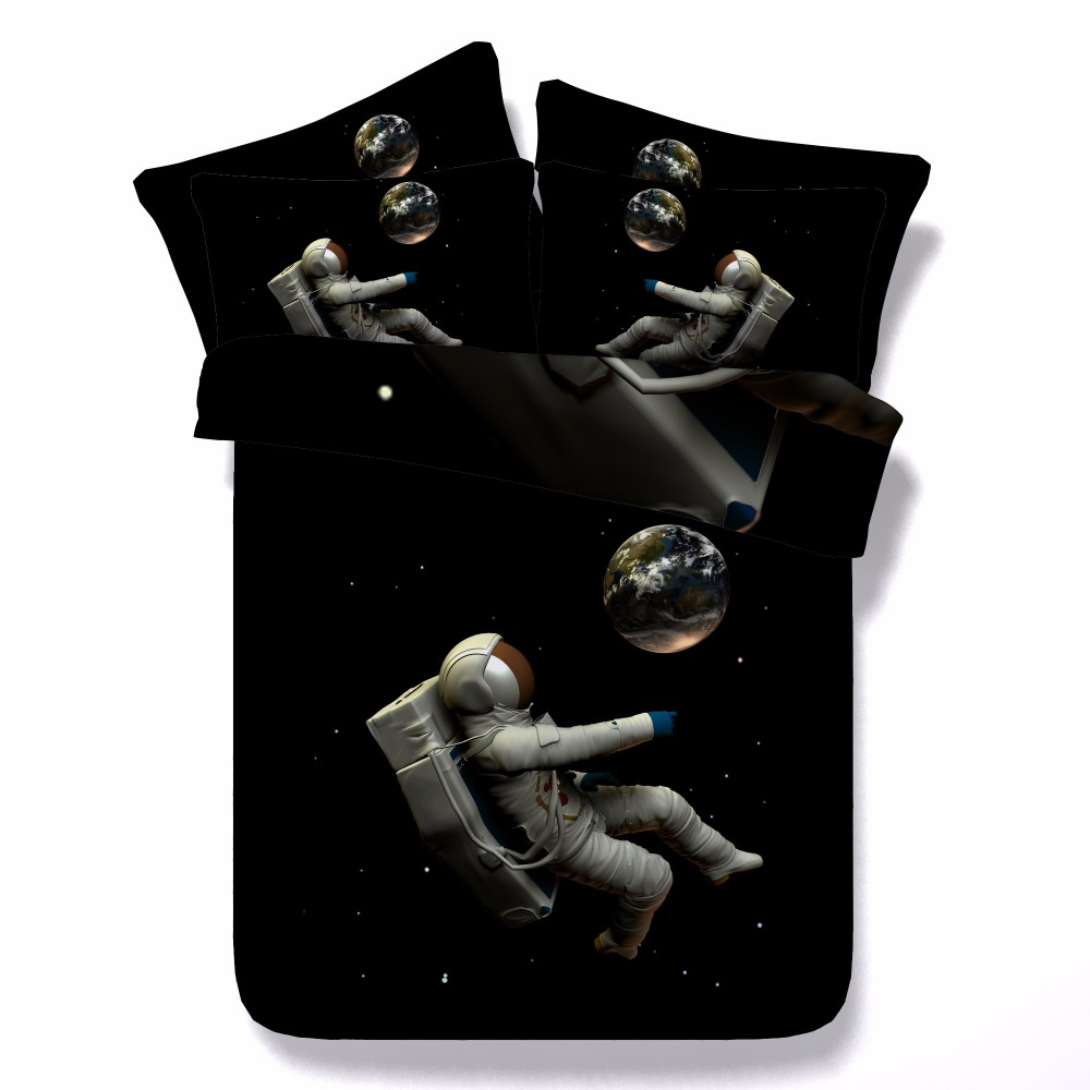 Astronaut floating in Space 3d Tencel Cotton bed set