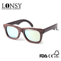 top quality 100% wood sunglasses men's UV mirror sunglasses women polarized sunglasses with logo(LS3019-C10)