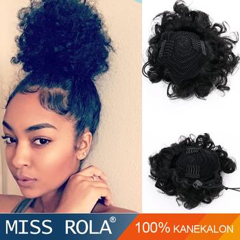 Kanekalon Fiber Afro Hair Bun For Black Women Professional Factory