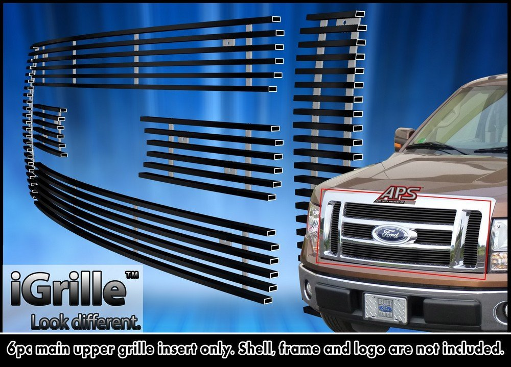 For 2009-2012 Ford F-150 Lariat/King Ranch Black Stainless Steel Billet Grille #F66788J