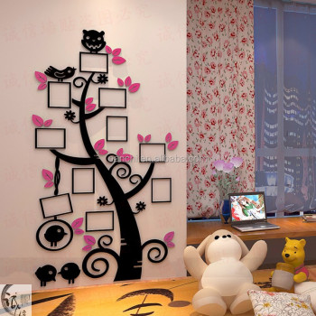 3d acrylic photo tree wall stickers for children living room tv